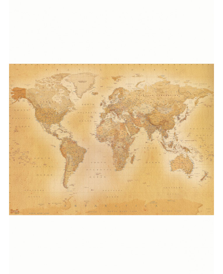 Vintage world map wall mural x for Antique world map mural