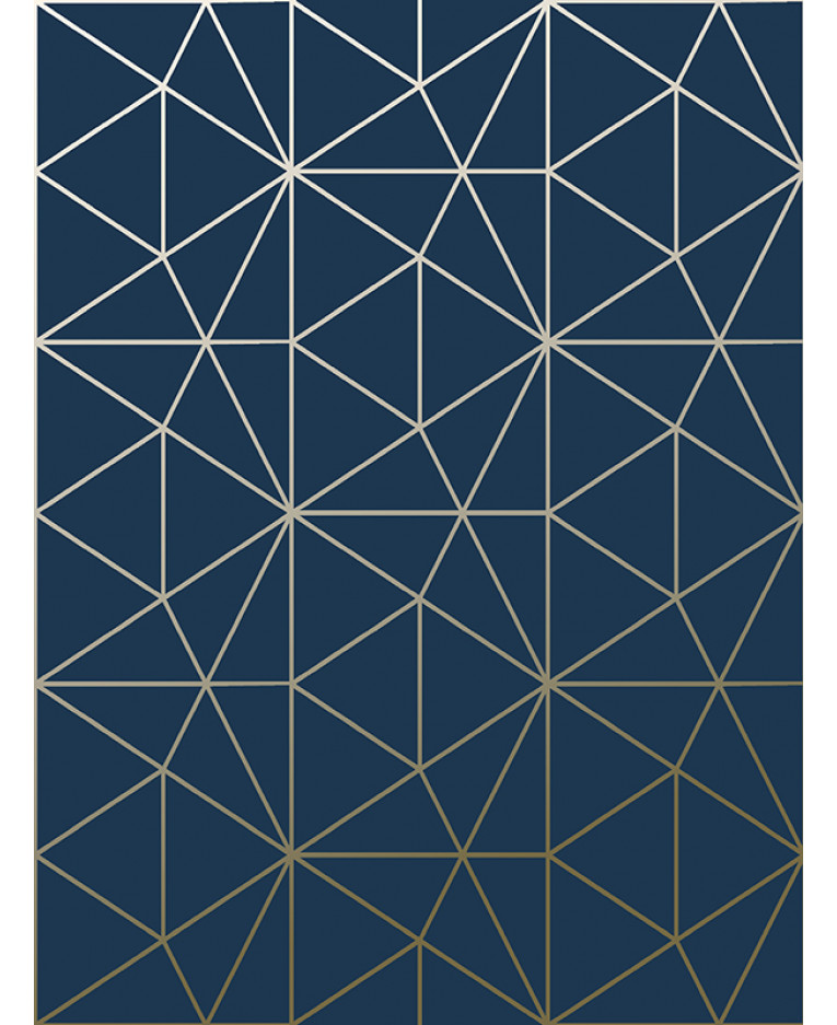 Metro Prism Geometric Triangle Wallpaper Navy And Gold WOW008