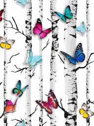 HOLDEN 12231 BUTTERFLIES EPPING BIRDS ON BRANCHES WALLPAPER WHITE