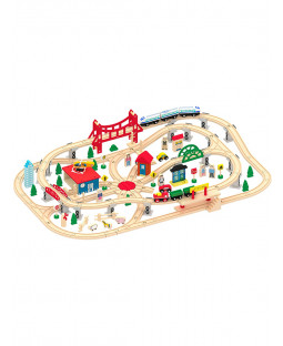 Leomark 130 Piece Deluxe Wooden Train Set