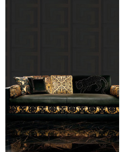 Versace Greek Key Wallpaper Black - 10m x 70cm 93523-4