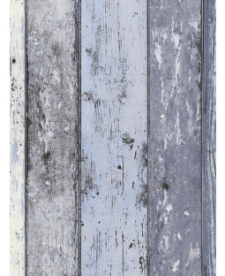 Distressed Wood Panel Wallpaper Blue - AS Creation 8550-60