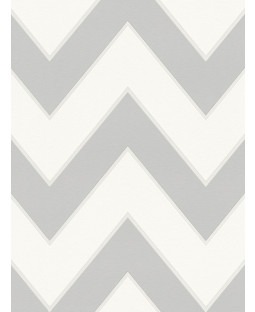 Metropolis Chevron Wallpaper White and Grey Michalsky 93943-5