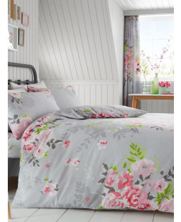 Alice Floral King Size Duvet Cover and Pillowcase Set - Grey and Pink
