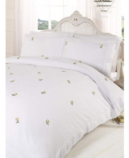 Alicia Floral White / Yellow Single Duvet Cover and Pillowcase Set