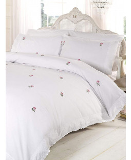 Alicia Floral White / Pink Double Duvet Cover and Pillowcase Set
