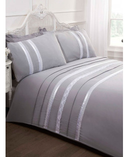 Annabella Silver Double Duvet Cover and Pillowcase Set