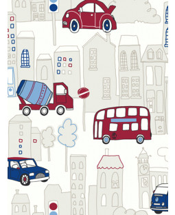 Motor Mania Blue and Red Wallpaper - 533501 Arthouse