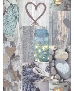 Rustic Heart Wallpaper - Natural - 669600 Arthouse