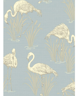 Lagoon Flamingo Wallpaper - Soft Blue - Arthouse 252605