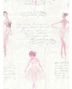 Pirouette Ballet Ballerina Wallpaper Pink - Arthouse 668200