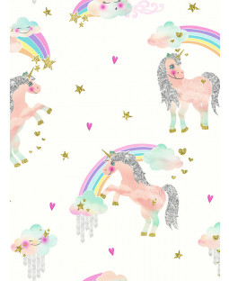 Rainbow Unicorn Glitter Wallpaper White Arthouse 696109
