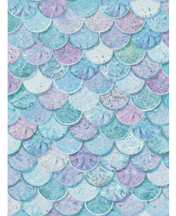 Mermazing Mermaid Scales Glitter Wallpaper - Ice Blue Aqua- Arthouse 698305