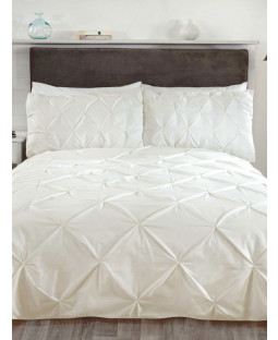 Balmoral Pin Tuck Cream King Size Duvet Cover and Pillowcase Set