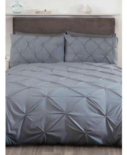 Balmoral Pin Tuck Grey Super King Duvet Cover and Pillowcase Set