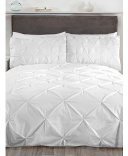 Balmoral Pin Tuck White King Size Duvet Cover and Pillowcase Set