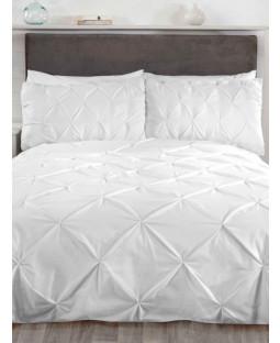 Balmoral Pin Tuck White Super King Duvet Cover and Pillowcase Set