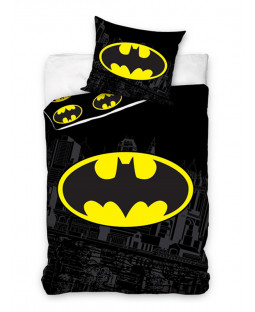 Batman Logo Cotton Single Duvet Cover and Pillowcase Set