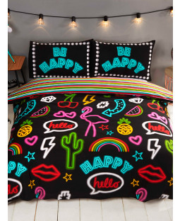 Neon Signs Single Duvet Cover and Pillowcase Set