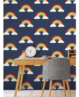 Rainbow Wallpaper Navy Blue Feature wall Belgravia 9990