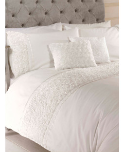 Limoges Rose Ruffle Cream Double Duvet Cover and Pillowcase Set
