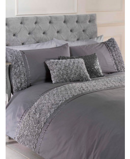 Limoges Rose Ruffle Grey Single Duvet Cover and Pillowcase Set