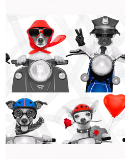 Biker Dogs Wallpaper - Muriva 102561