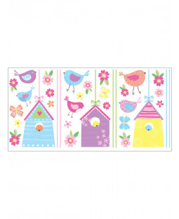Bird Houses Wall Stickers - 35 pieces