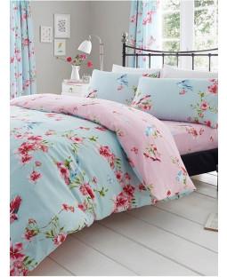 Ensemble housse de couette et taie d'oreiller à fleurs Birdie Blossom - Bleu