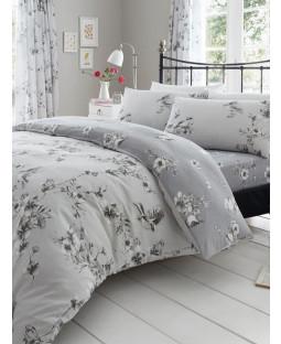 Juego de funda de almohada y funda de almohada con diseño floral Birdie Blossom - Gris