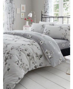 Birdie Blossom Floral King Size Duvet Cover and Pillowcase Set - Grey