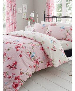 Birdie Blossom Floral Double Duvet Cover and Pillowcase Set - Pink