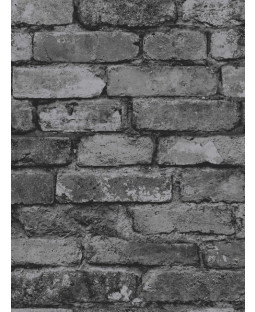 Black Grey Brick Effect Wallpaper - Fine Decor