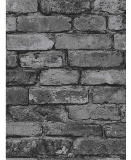 Papel pintado negro gris efecto ladrillo - Decoración fina