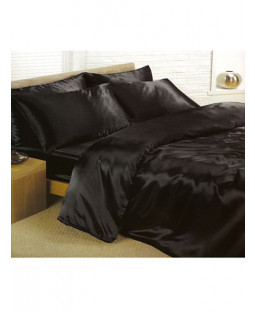 Black Satin Double Duvet Cover, Fitted Sheet and 4 pillowcases Bedding