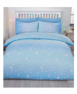 Starburst Brushed Cotton King Size Duvet Cover Set - Ice Blue