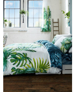 Botanical Palm Leaves King Size Duvet Cover and Pillowcase Set