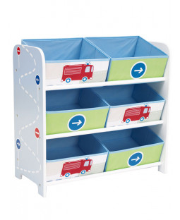 Boys Vehicles 6 Bin Storage