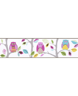 Bright Owls Self Adhesive Wallpaper Border