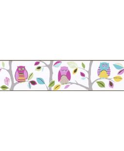 Borde de papel tapiz autoadhesivo de búhos brillantes
