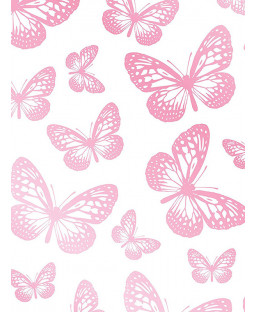Butterflies Pink and White Wallpaper 10m