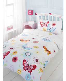 Butterfly Single Duvet Cover and Pillowcase Set - White