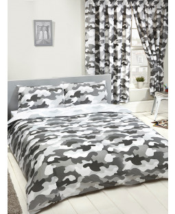 Grey Army Camouflage Bedroom