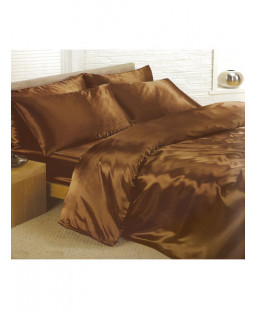 Chocolate Satin Duvet Cover, Fitted Sheet and Pillowcases Bedding Set