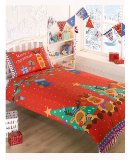 Christmas Reindeer 4 in 1 Junior Bedding Bundle (Duvet and Pillow and Covers)