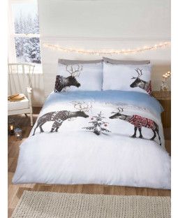 Christmas Reindeers Single Duvet Cover and Pillowcase Set