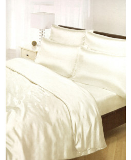 Cream Satin Super King Duvet Cover, Fitted Sheet and 4 Pillowcases Bedding Set