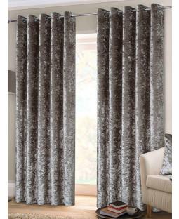 Belle Maison Lined Eyelet Curtains - Crushed Velvet Range, Silver