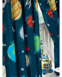 Solar System Planets & Space Lined Curtains 54in x 66in