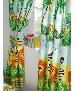 "Jungle-Tastic Lined Curtains 54"" Drop"